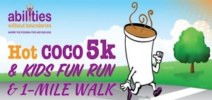 Hot COCO graphic with 5K, Kids Fun Run and 1-Mile Walk with running cup graphic and Abilities Without Boundaries logo