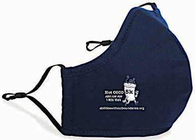 Hot COCO 2020 face mask for all 5K, 1-mile walk and kids fun run participants! Abilities Without Boundaries fundraiser.