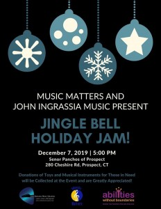 Music Matters Jingle Bell Holiday Jam benefits Abilities Without Boundaries, at Senor Panchos of Prospect, Dec. 7, 2019, flyer