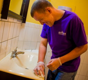 Abilities Without Boundaries cleaning sink group supported employment