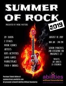 Summer of Rock Benefit Flyer August 10, 2019