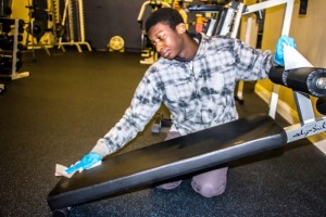 Abilities Without Boundaries, group employment, cleaning gym equipment